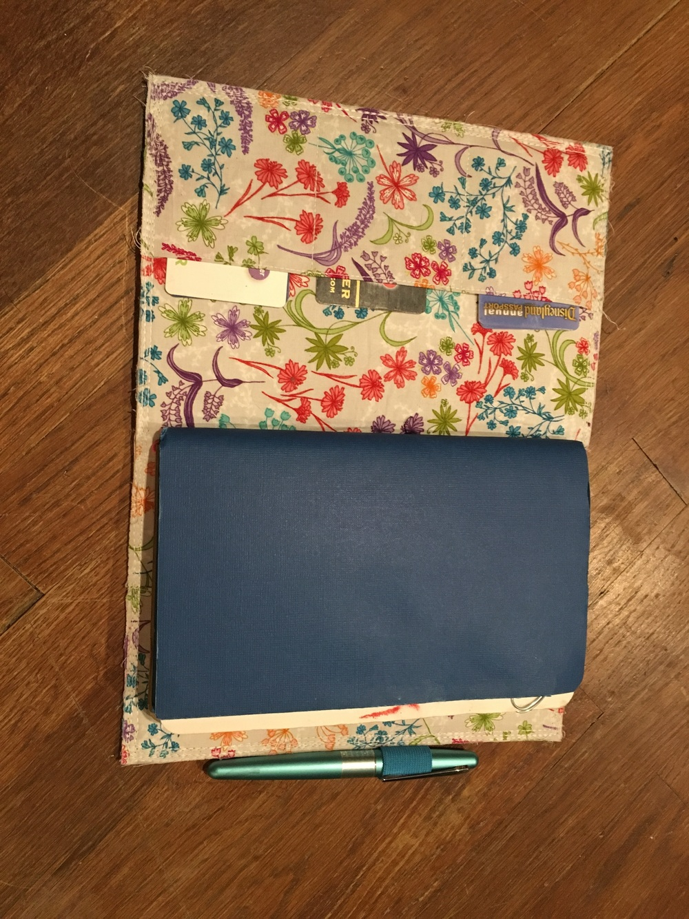 Card pockets on the first cover. Favorite fabric, but eh on the corners.