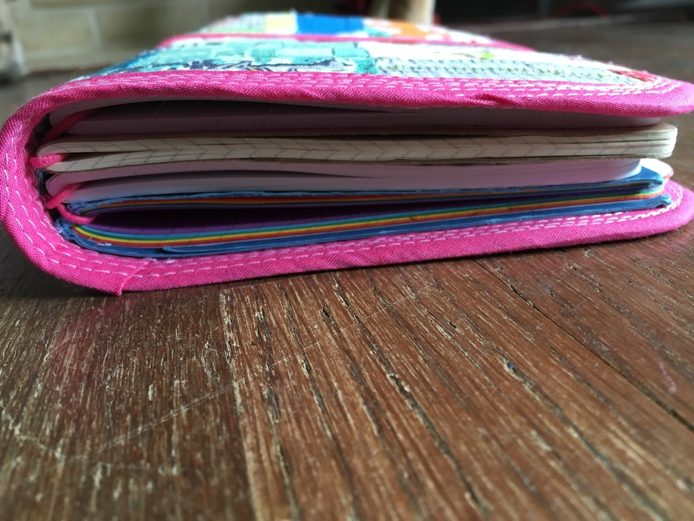 I put in 4 book elastics so it can easily hold moleskine Cahiers, May Designs notebooks, and my own homemade books
