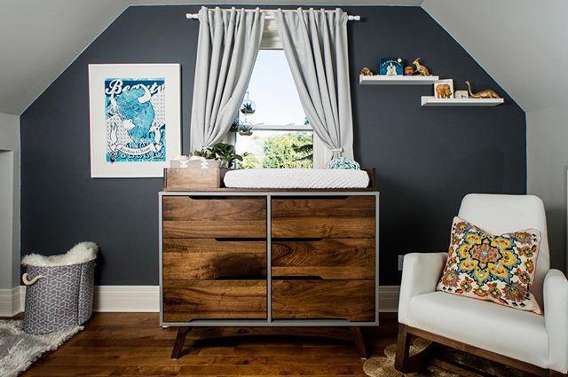 "Our 6 drawer ""Ratio"" dresser with a custom baby change table on top 👶 🍼  #dresser #walnut #bedroom #interiordesign #midcenturymodern #midcenturymodernfurniture #modern #1960s #bohostyle #changeroom #babyroom #torontofurniture #toronto #jungalowstyle #housetour #finditstyleit #currentdesignsituation"