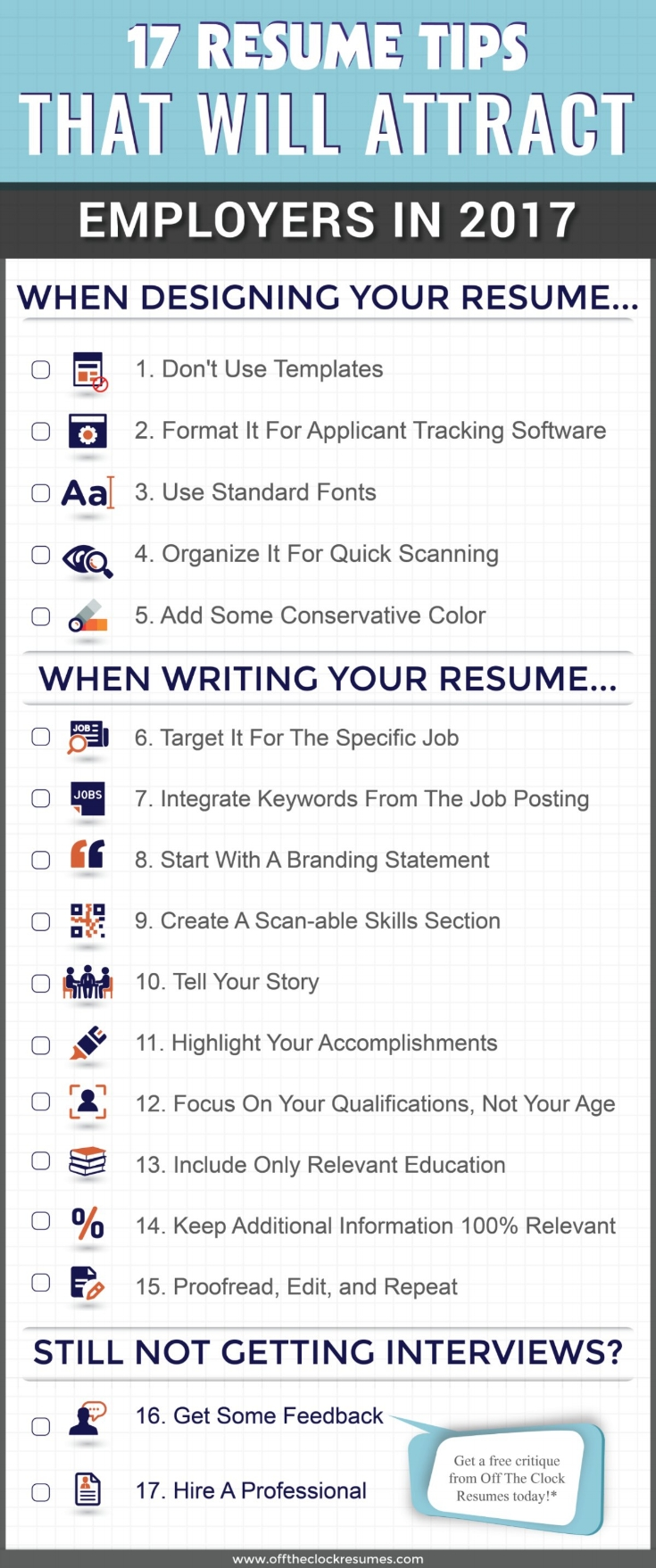 17 resume tips that will attract employers in 2017 infographic off the clock resumes resume tip how to organize