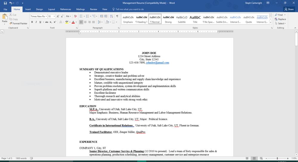 Resume Refresh - Old Resume.PNG