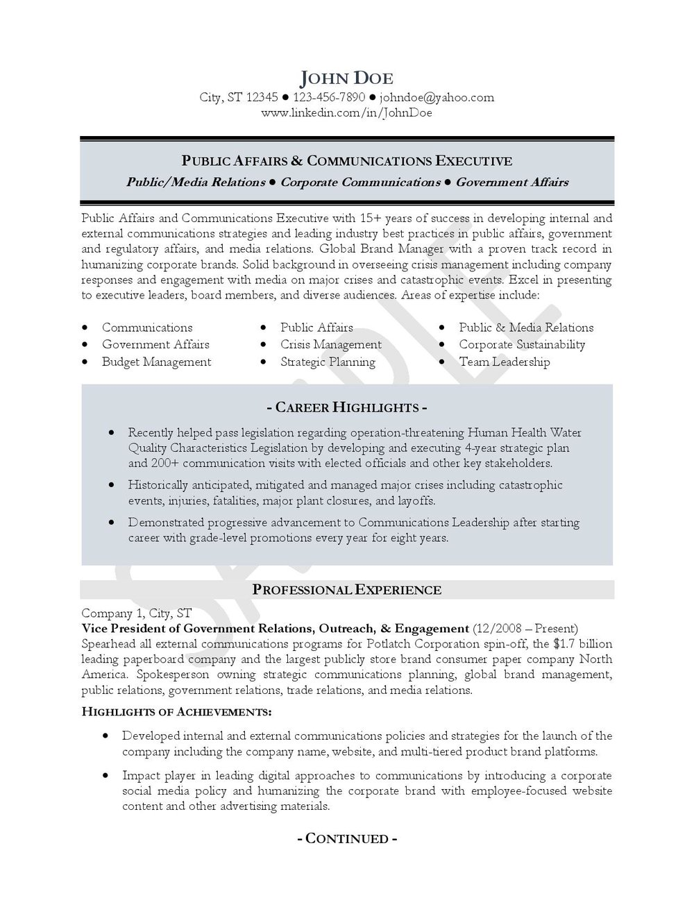 Public Affairs & Communications Executive Resume