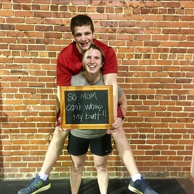 """#whyiCrossFit Jake Knighten --Given that Jake is a 15 year old teenage boy, he didn't provide quite as much commentary or a heartfelt testimony as the previous participants did as to #whyiCrossFit ...When Jake was asked why he chooses CrossFit, he laughed and nudged his mother and said """"So she can't whoop my butt!"""" This is probably a good reason to partake in CrossFit, considering his mother is sort of a beast! All joking aside, he did say that he wanted to """"get muscles and a girlfriend"""" and he has actually successfully acheived both of those now! Considering Jake was just 13 when he started CrossFit almost two years ago, what more could a boy want, right?  I speak for all trainers at Sand Mountain CrossFit when we say that Jake is a wonderful kid. He is very receptive to cues and coaching, and respectful to others all while making people laugh when they feel like they can't breathe--including his mother! It is very fun to watch he and his mother alongside each other during class and his mother surpass him during the workout, and Jake has to push himself harder to catch up to her. It doesn't happen very often, but it has happened! Jake is very athletic and strong, and watching him mature and grow over his time at SMC has been a joy. The respect he has for his mother is a lost quality with much of his generation. Jake is a great example for other kids his age and we are so thankful he enjoys and chooses to be a part of our community!  #CrossFit  #SandMountainCrossFit"""