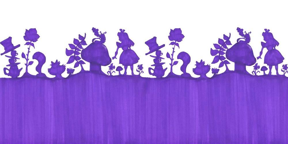 Alice in Wonderland silhouette mural