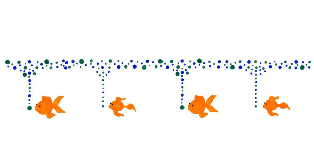 Swimming fish border mural