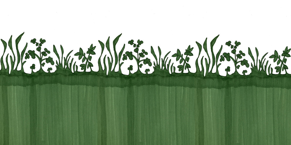 Garden themed silhouette mural