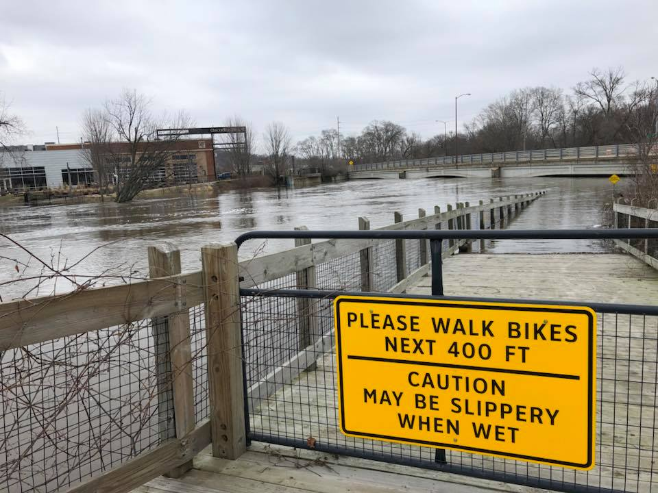 "The  Kalamazoo River Valley Trail  may have been ""slippery"" in February 2018 (Arcadia Brewing background), but it seamlessly connects downtown to Lake Michigan at South Haven, and points east and north as well."