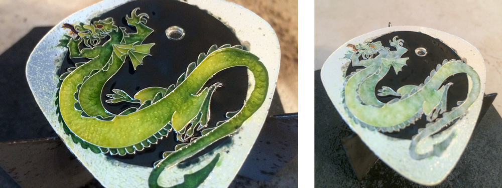 The left image has 2 coats of green and 2 coats of black enamel.  In the right image, I've achieved the right shade of green, so I've switched to clear enamels (hence the sugary appearance) and will continue with clear enamel until I've reached the tops of the wires.