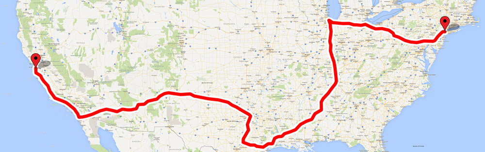 The Route (5,000 miles) from Palo Alto to New York