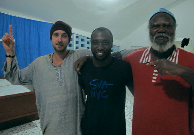 Emmanuel (center) with Nicholas (Saliou) Pelafas, and Yelimane Fall