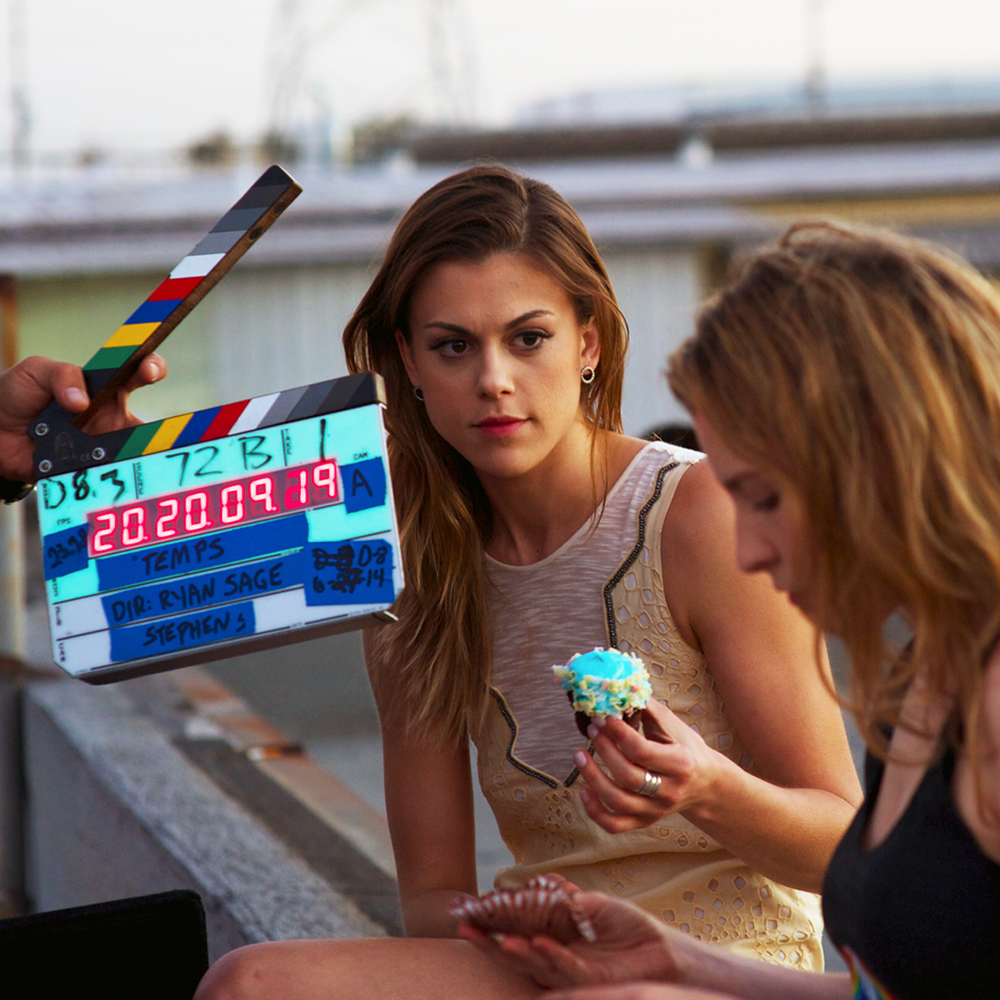 Lindsey Shaw with Eden Sher on the set of 'Temps'.