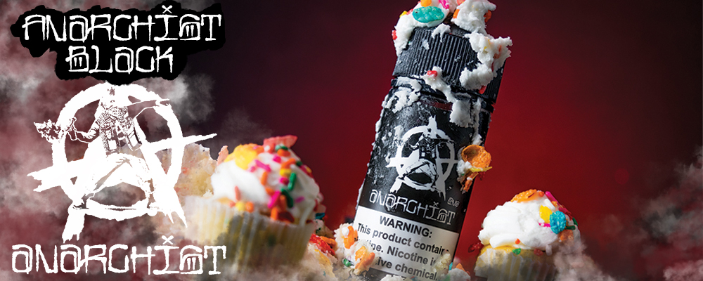 ANARCHIST BLACK - Combing two tasty vape flavors into one, Anarchist Black will conquer your taste buds with its delicious, fresh from the oven baked vanilla cupcake which is infused with everyone's favorite sugary sweet pebbles cereal. Bringing together both breakfast & dessert there's not a juice on the market that can satisfy both sweet and savory vapers quite like the way that Anarchist Black aims to please. Available in 60ml and 100ml Chubby Gorilla Bottles.
