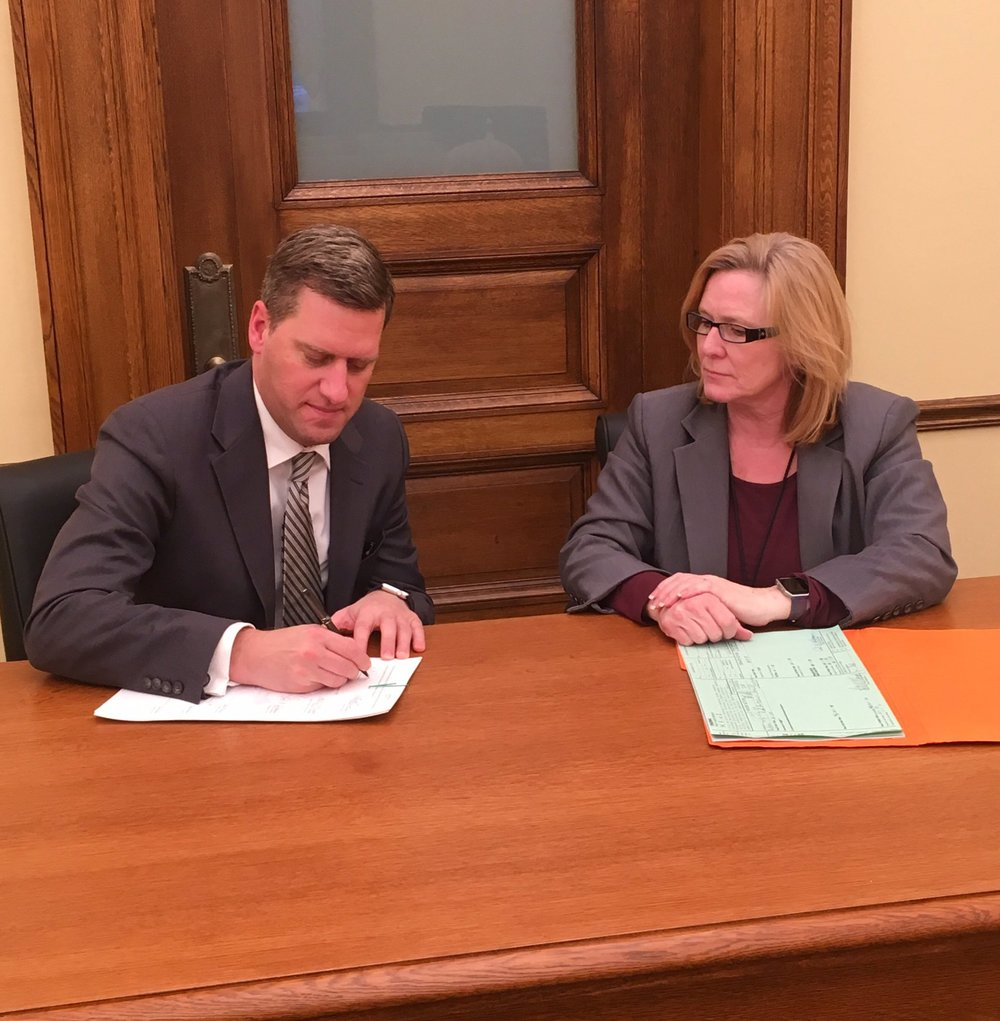 Kurt Daudt  @kdaudt   22h 22 hours ago    Proud to sign bipartisan legislation providing $22 million in tax relief, the 1st bill this session we are sending to the gov's desk.  #mnleg  – at  Minnesota State Capitol