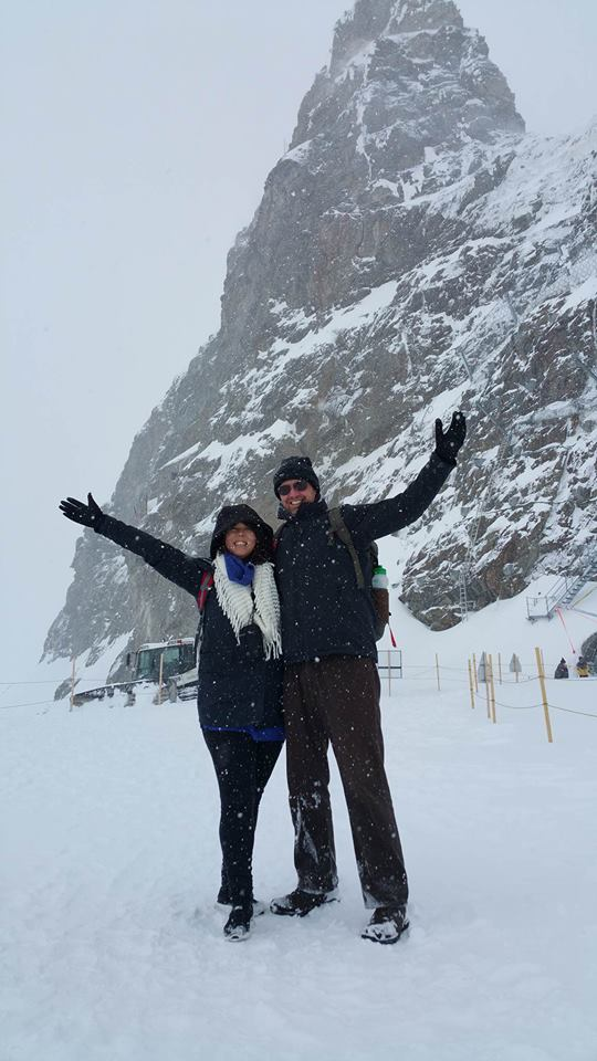 Kathryn and her husband Brett in snowy Europe.