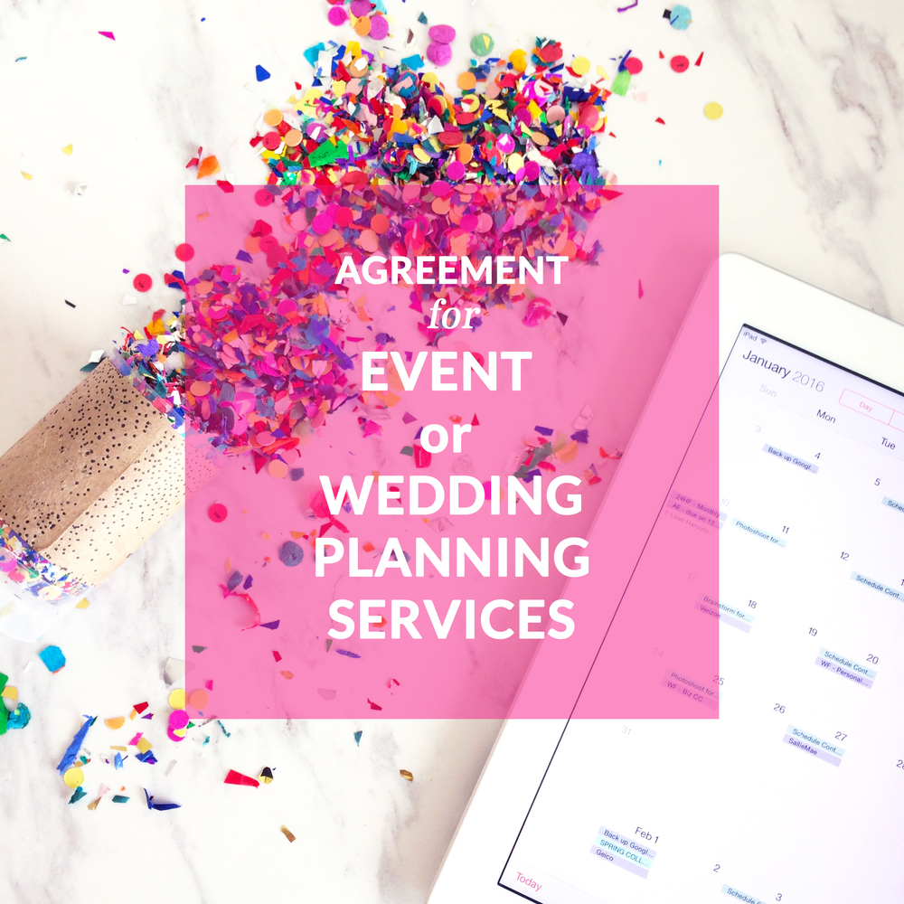 Agreement For Event Or Wedding Planning Services Contract Templates