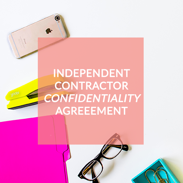 Independent Contractor Confidentiality Agreement Contract – Contractor Confidentiality Agreement