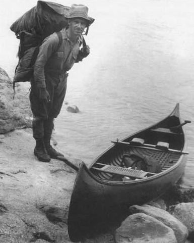 Arthur Carhart (1892-1978) with his canoe in what is now the BWCA. Carhart inspired wilderness protection in Minnesota and other areas of the United States.