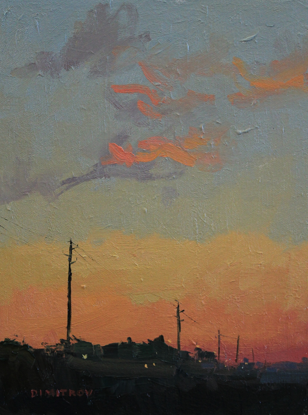 "Electric posts before sunrise 9""x12"" oil on panel"