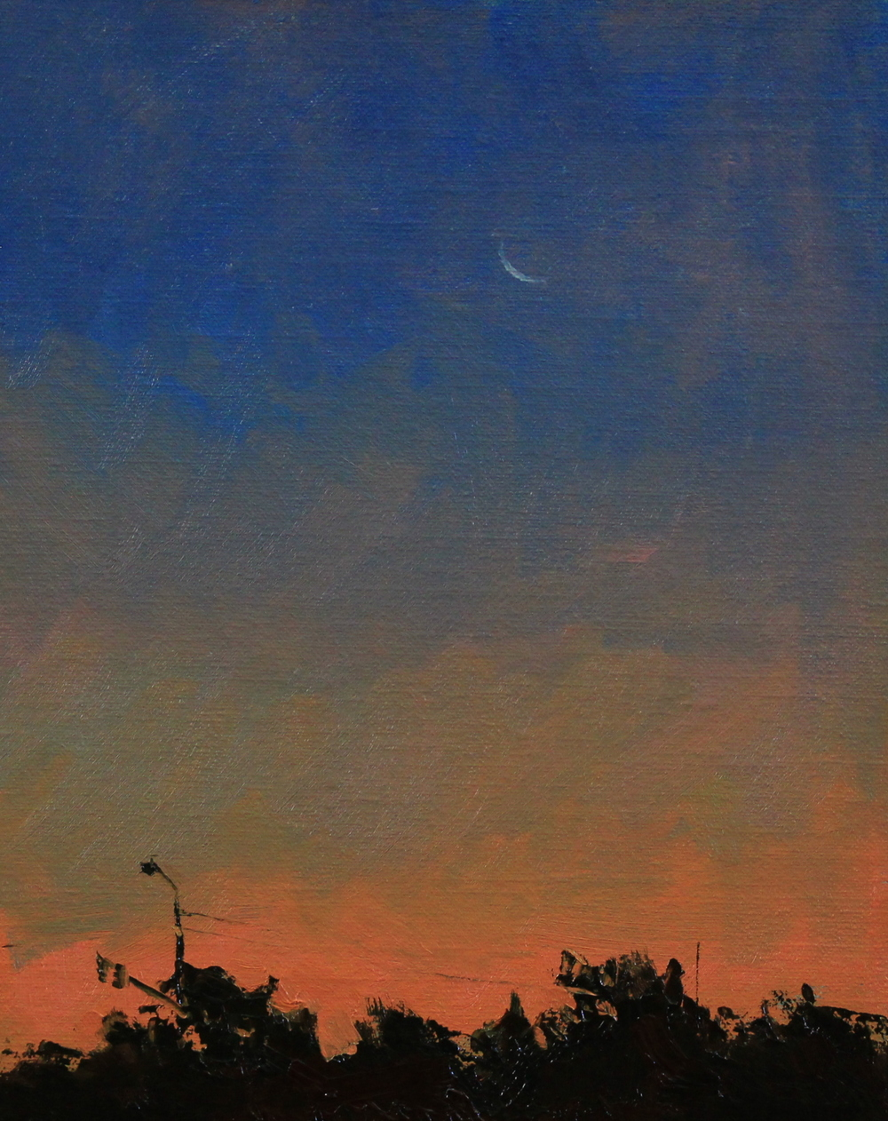 "Crescent Moon Before Sunrise, 8""x10"" oil on panel"