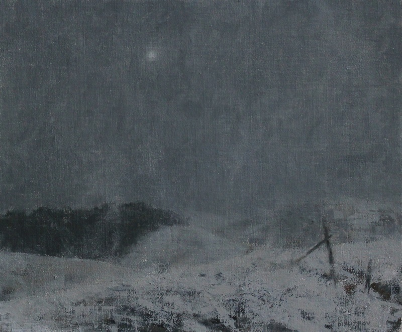 "Snow Bound, 12"" x 14.5"" oil on canvas panel"