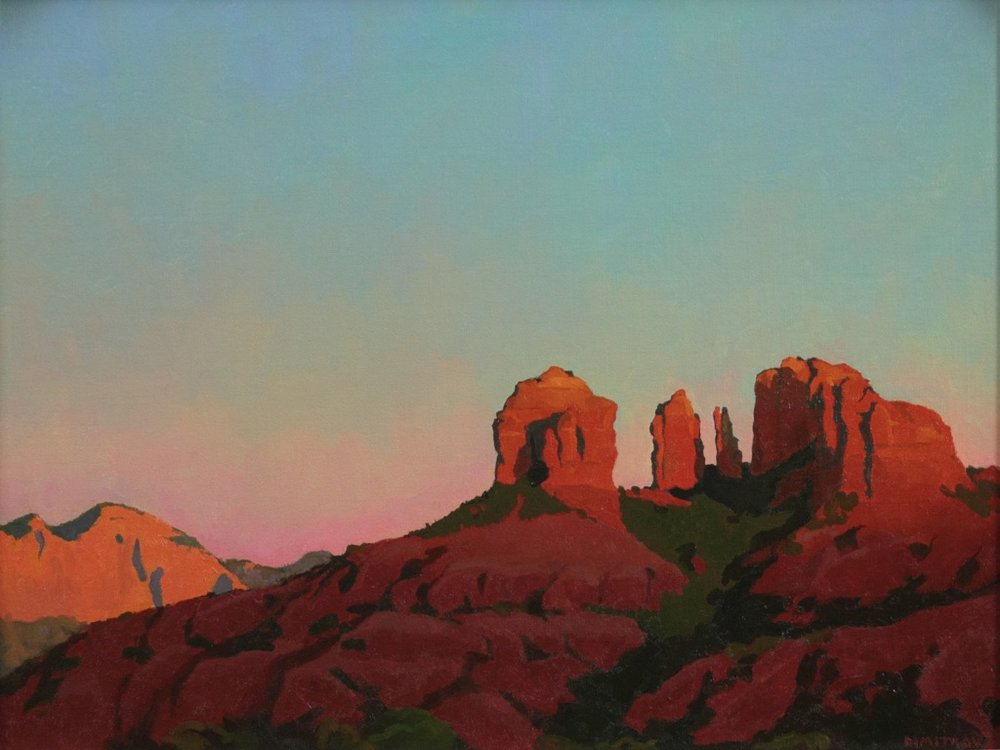 """Last Light on Cathedral Rock"", 18""x24"" oil on linen panel"
