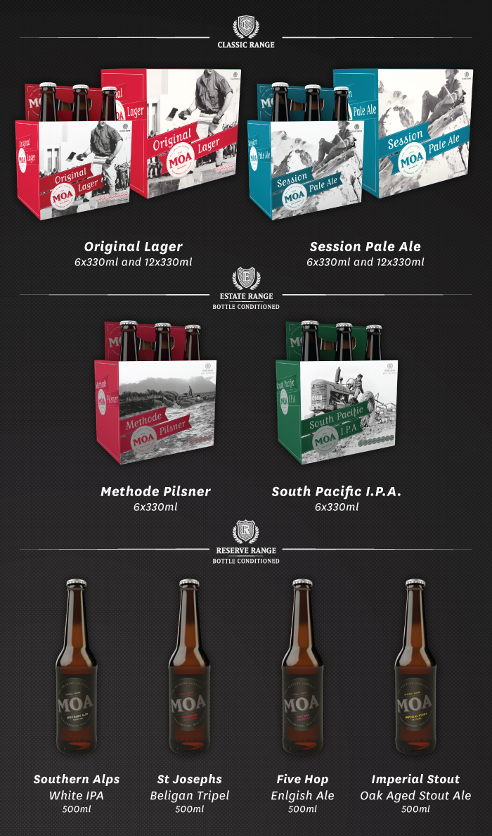 The Range of Moa Beer and Cider