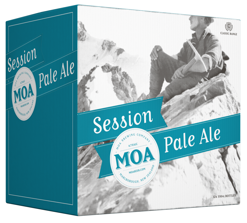 SESSION PALE ALE - Style: Pale AleABV: 4.3%Serving Glass: Tulip GlassMoa Session Pale Ale is an easy drinking, balanced, new world style Pale Ale. A blend of Crystal and Pale Ale malts are complemented by Kohatu, Nelson Sauvin, Cascade and Motueka hops, producing a beer with toasty malt flavours and earthy, yet tropical fruit hop tones.Bottle Size: 330mlPack Size: 6x330ml and 12x330ml
