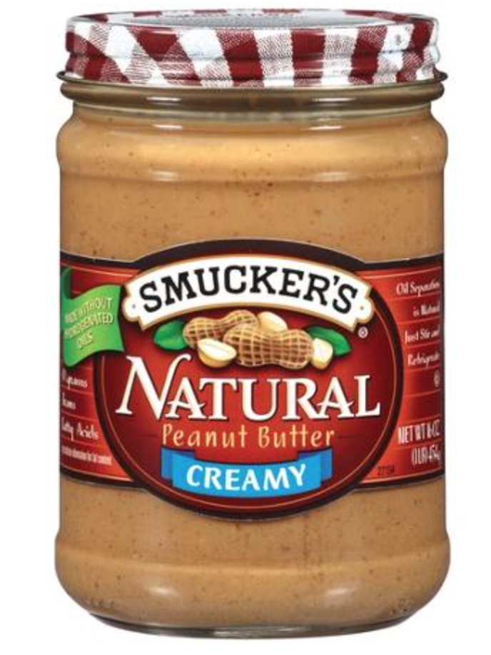 Smucker's Natural    Calories:   200   Fat:   16 grams   Sugar:   1 gram   Protein:   7 grams