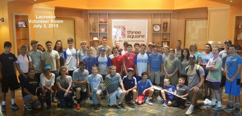 Our Lacrosse Force group at the Three Square warehouse