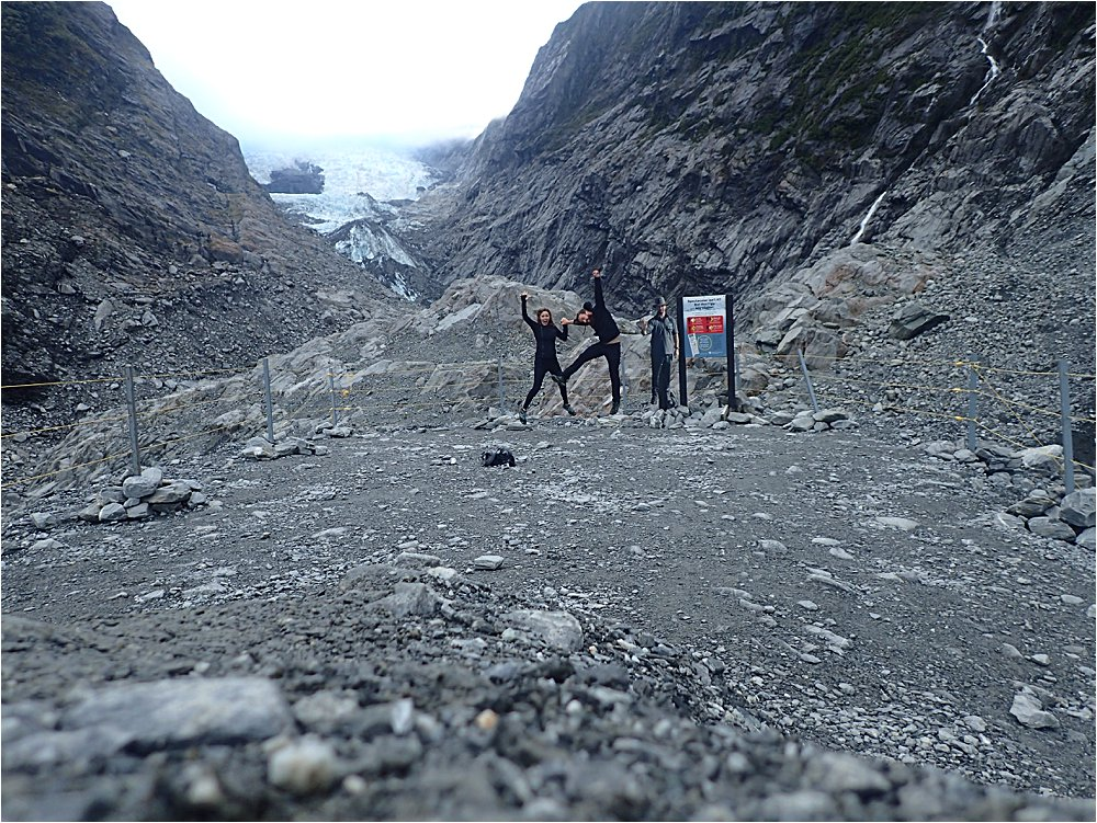We're way more excited about the glacier than cardboard cutout park ranger.