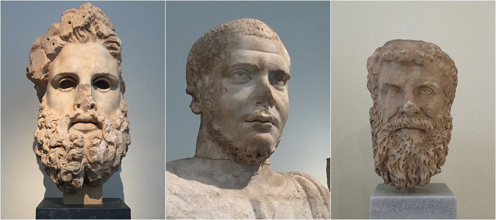 A tale of Greco-Roman beards. From left to right: bifurcated curly beard, chin strap beard, the full figuredbeard