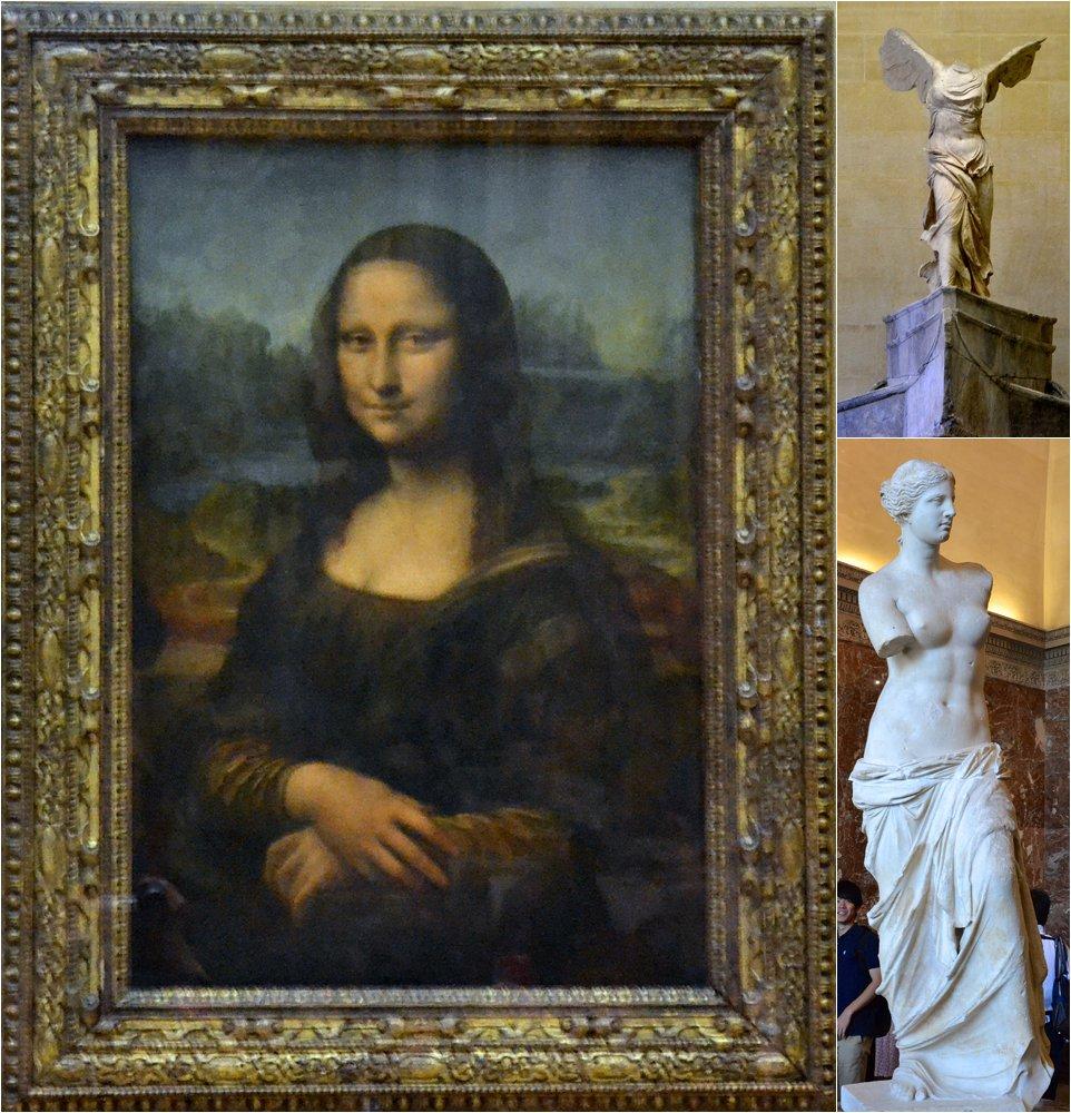 Mona Lisa, Venus de Milo, and  Winged Victory of Samothrace
