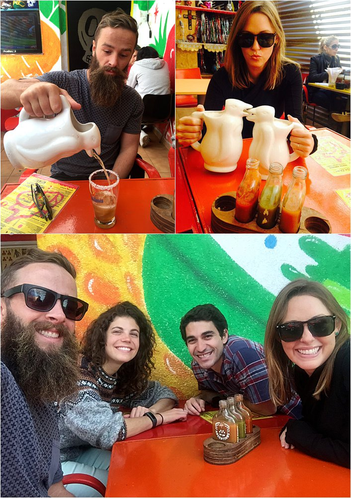 Lunch with Mikey and Tamara. We found a Mexican place that served micheladas out of penguins. Solid combo