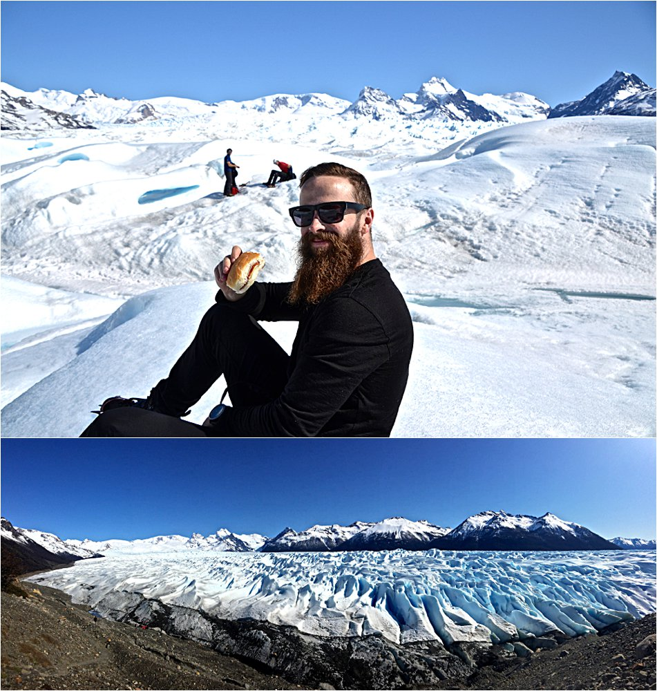 Lunch on the ice. Backpack smashed ham sandwiches never tasted so good.