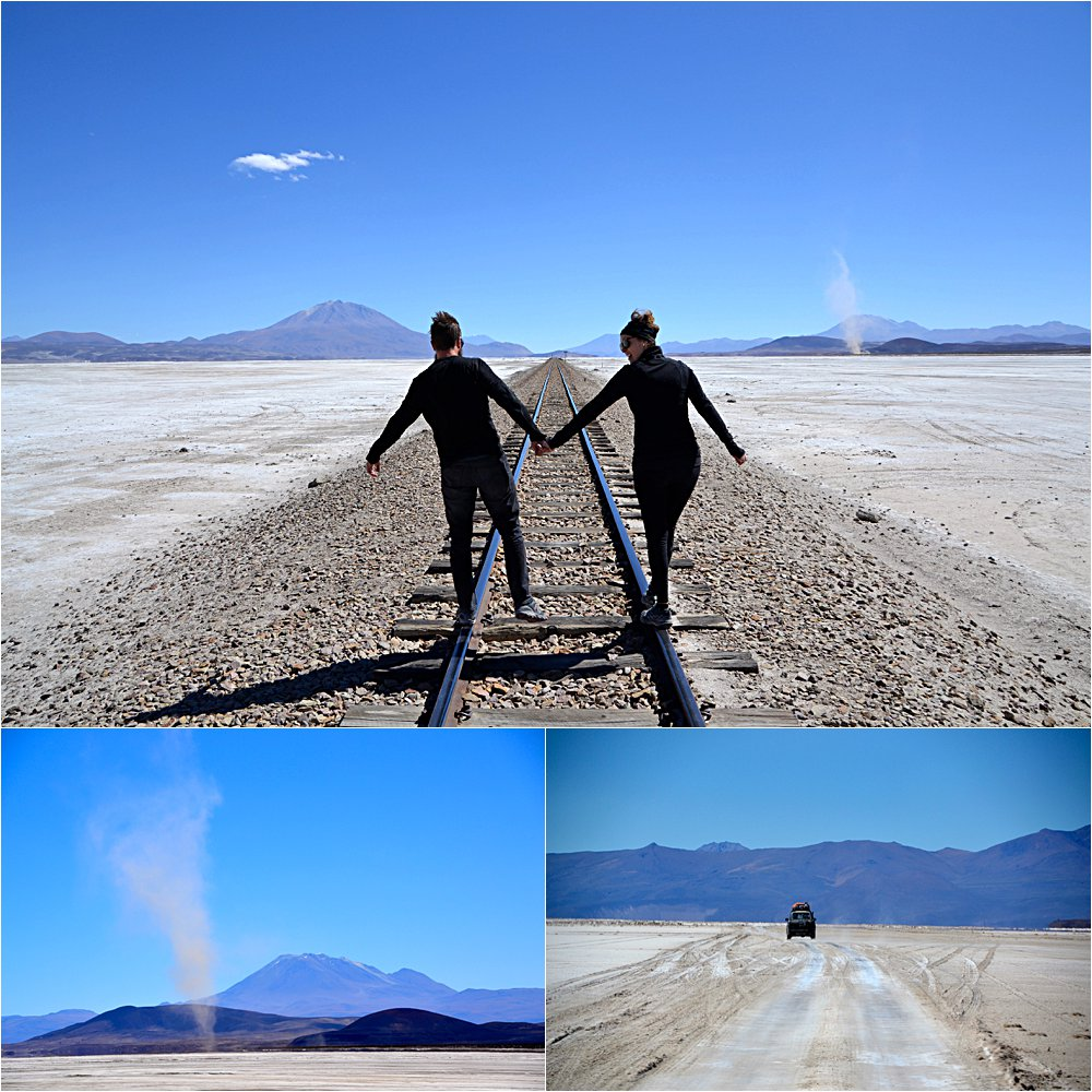 Dust devils and train tracks in the altiplano.
