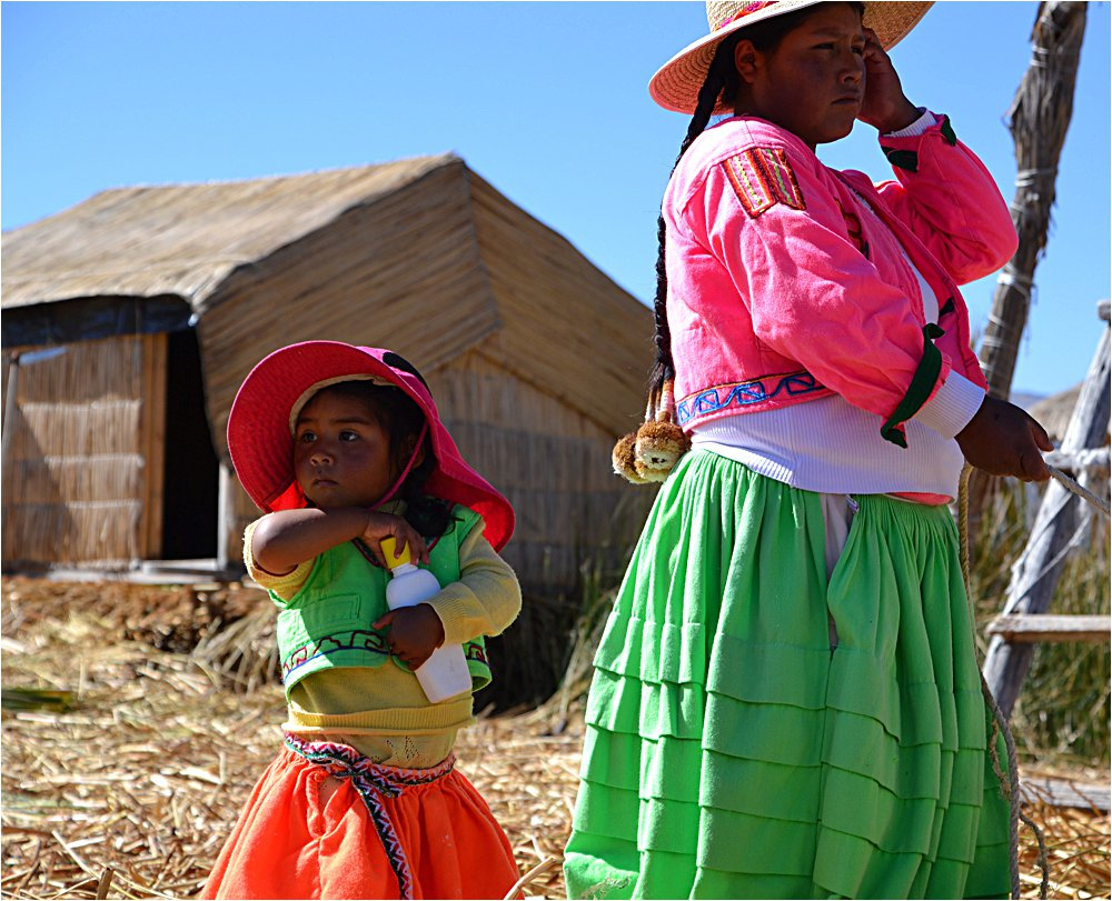 Visiting Uros Islands. The islands are all made of reeds (so are the boats, and houses, and lots of other things!)