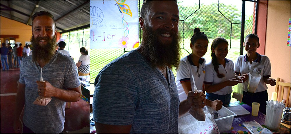 Jason trying his first Salvadoran milkshake at the entrepreneur tables at the school.