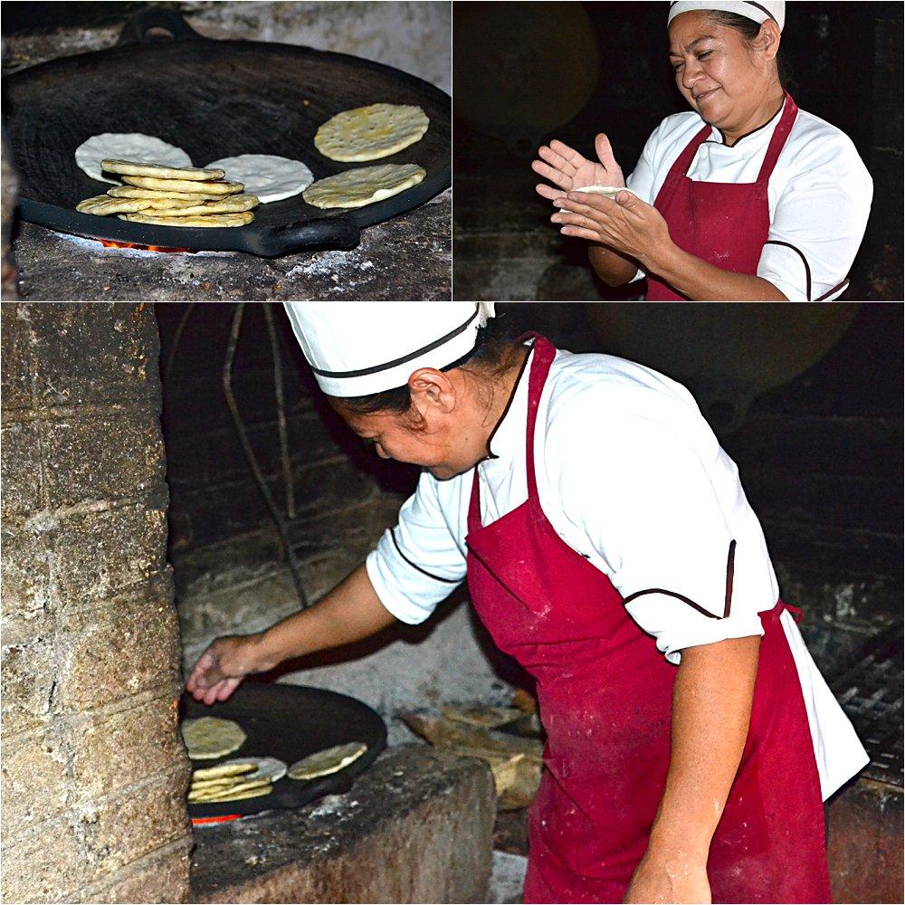 Making tortillas.