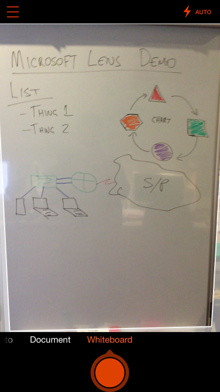 Microsoft Lens has a super simple interface. Point it at the whiteboard, hit the big red button.