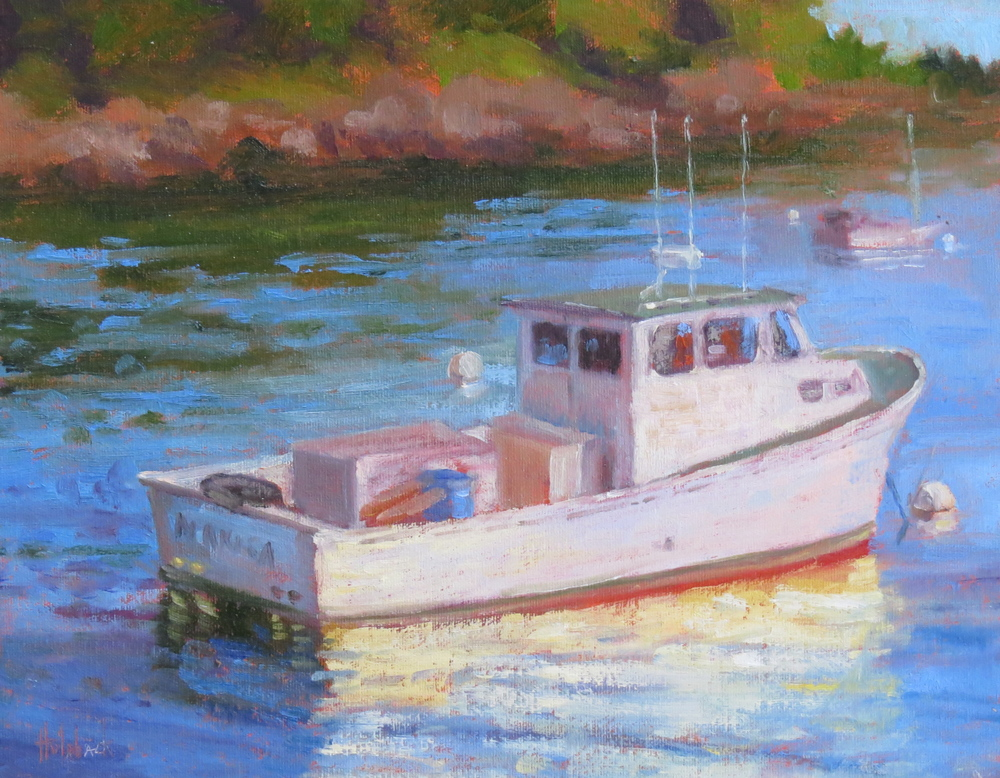 "Working Boat  12"" x 12""  SOLD"