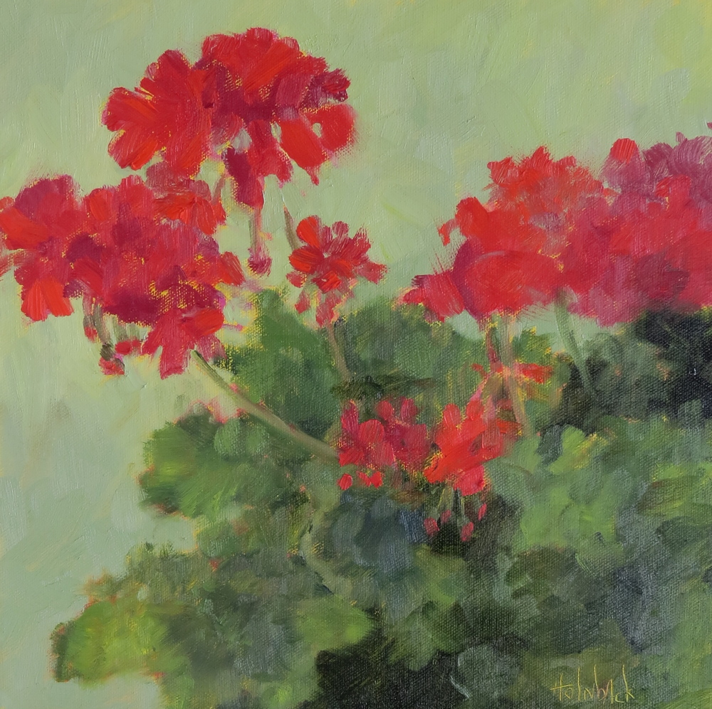 """Spring Geraniums  12"""" x 12"""""""