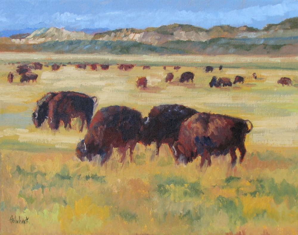 "Bison On The Plains  12"" x 16""  SOLD"