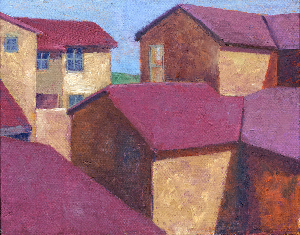 """Rooftops  11"""" x 14""""  SOLD"""