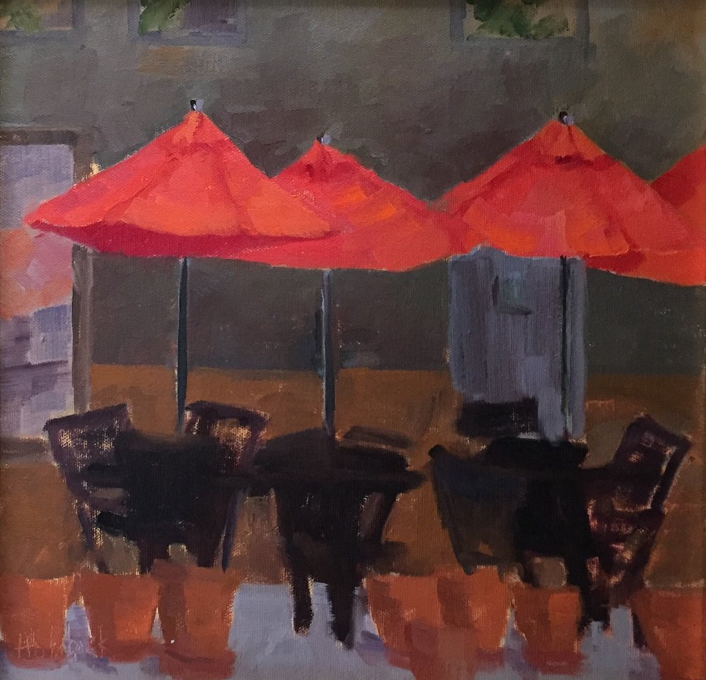 "Cafe Umbrellas  12"" x 12""  SOLD"