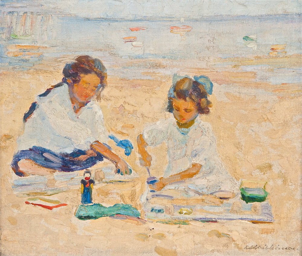 Children on Beach (Oil Painting) by Edith Lake Wilkinson