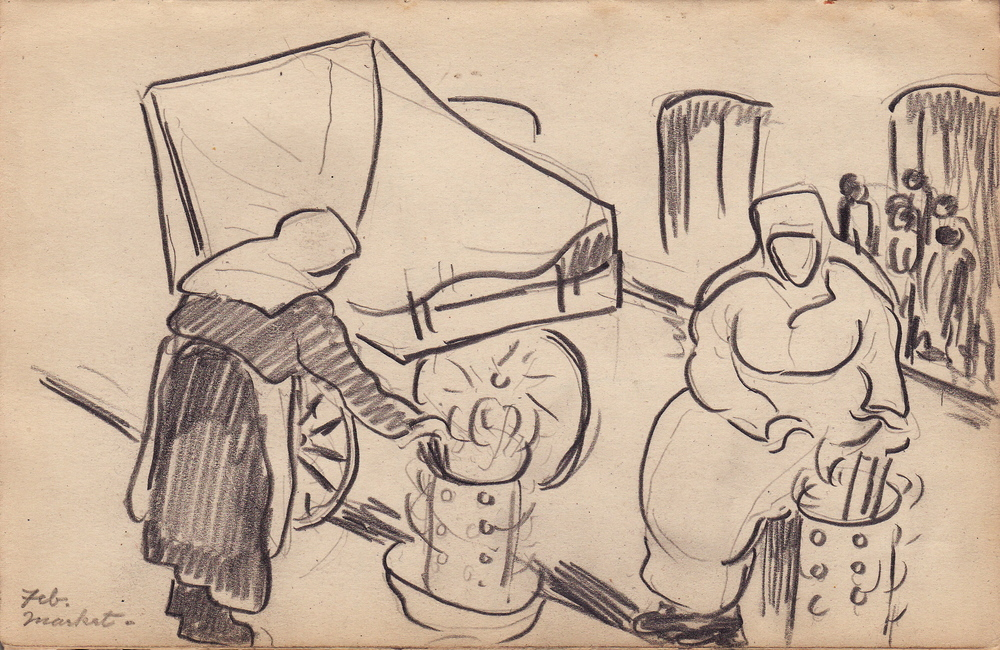 Lower Eastside Market Women (1923 Sketchbook) by Edith Lake Wilkinson