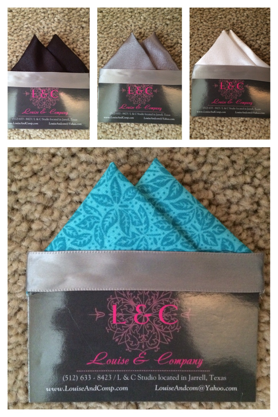 Two Point Pocket Squares (With Card)