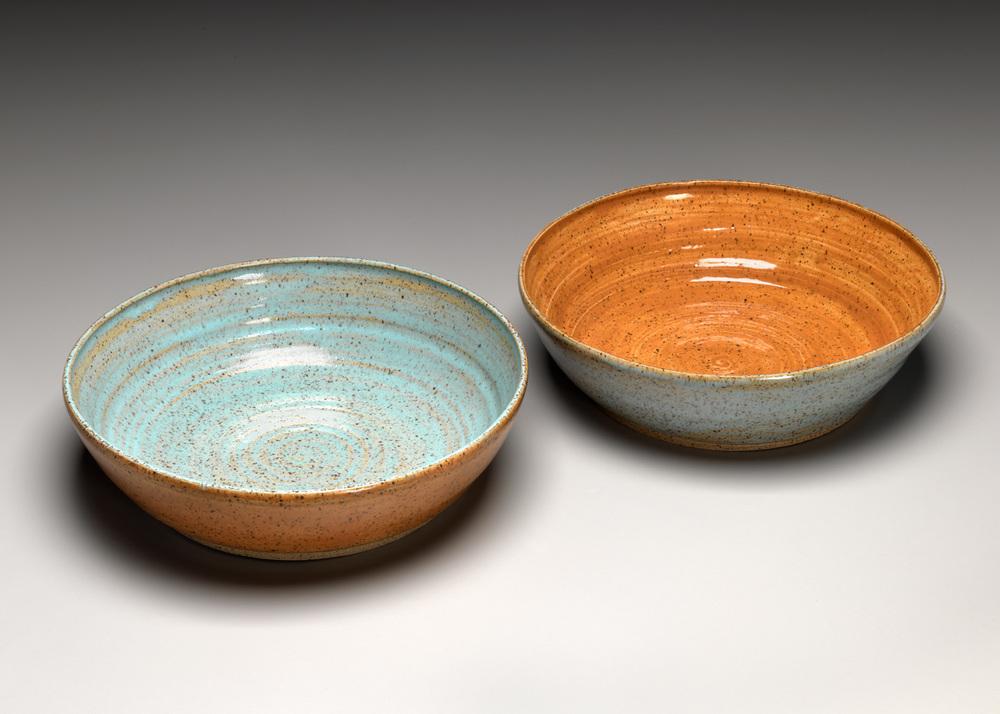 """Pasta Bowls: Stoneware Pumpkin, Aqua / Aqua, Pumpkin 9"""" x 2.5"""""""