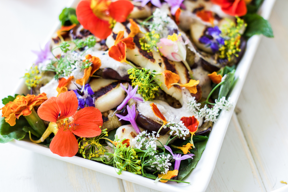 Eggplant & Halloumi Salad with Edible Flowers, drizzled with Lemon Tahini Sumac dressing. A perfect recipe to celebrate spring.