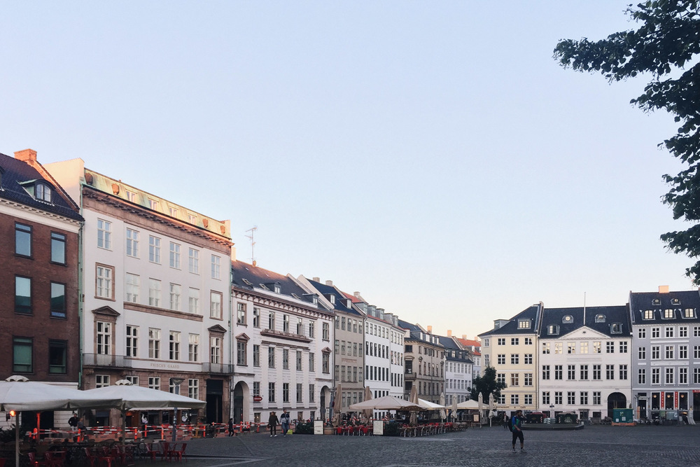 early morning, empty square, old town